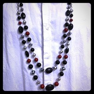 Double layered 20 inch beaded necklace.